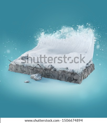 Travel and vacation background. 3d illustration with cut of the ground and the beautiful snow wave. Baby wave isolated on blue.