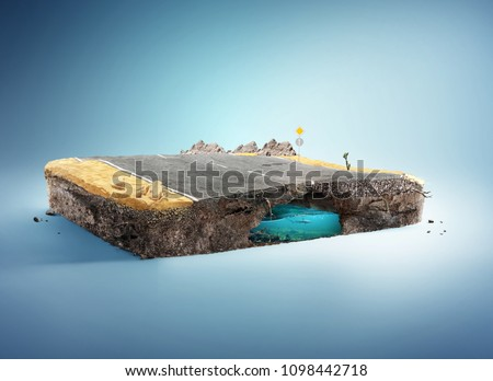 Travel and vacation background. 3d illustration with cut of the ground and the desert road. Baby road isolated on white.