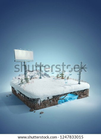 Travel and vacation background. 3d illustration with cut of the ground and the winter concept. Baby road, ski resort, slope, and  ski lift.