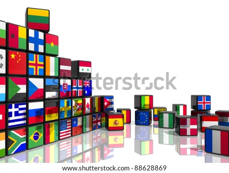 Travel and world flags concept: collage from cubes with colorful flags isolated on white reflective background