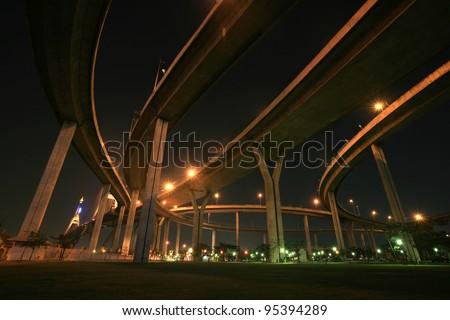 Travel background: night park landscape under Bhumibol bridge architecture in Thailand