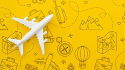 Travel background with yellow pattern with elements and dash lines.