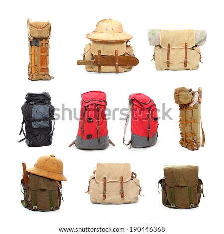 Travel bags and backpacks for leisure activities.