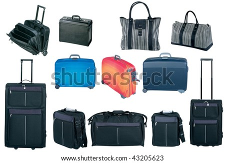 Travel bags and suitcases collection, isolated on white