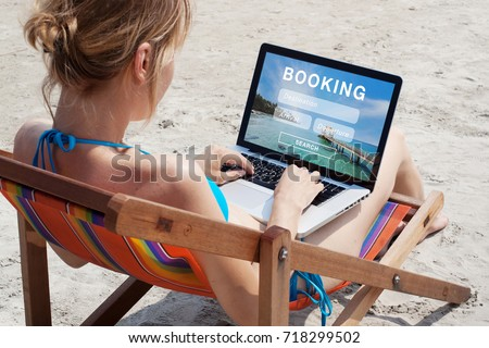 travel booking concept, tours, hotels and tickets online reservation #718299502