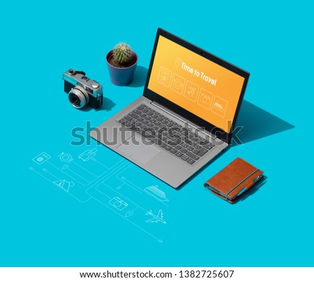 Travel booking online: laptop with tourism and vacations icons, vacations and accommodations concept