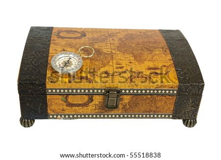 Travel box for storing vacation memories and a compass used for navigational purposes - path included