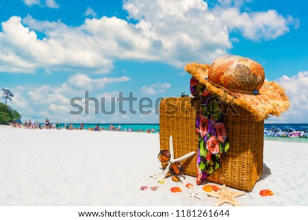 Travel brown bag sun hat summer accessories on nature white sandy beach, Vintage suitcase with traveling items, Banner for holidays vacation trip, Tourist destinations Asia plan, Tourism business tour #1181261644