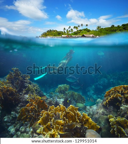 Travel card with a woman floating on a background of green islands and coral reef in the foreground. #129951014