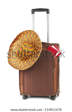 Travel case, hat and ticket isolated on white background