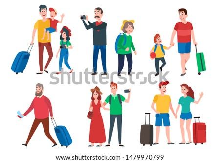 Travel characters. Travelling group, family couple holiday vacation and sightseeing travels tourists. Family leisure, travelling activities or resort vacations. Cartoon  isolated sign set