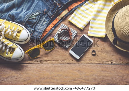 Travel Clothing accessories Apparel along for the trip - Shutterstock ID 496477273