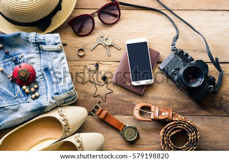 Travel Clothing accessories apparel along with women for the trip - Shutterstock ID 579198820