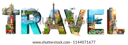 Travel. Collage of famous places of the world. Element for Advertisement, postcard, poster, and more. Isolated on white  #1144071677