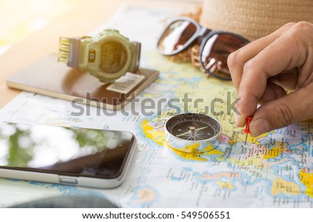 Travel concept background,Overhead view of Traveler's accessories.   #549506551