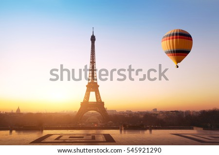 travel concept, beautiful view of hot air balloon flying near Eiffel tower  in Paris, France, tourism in Europe #545921290