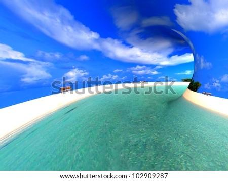 Travel concept. 3d render ocean beach landscape.