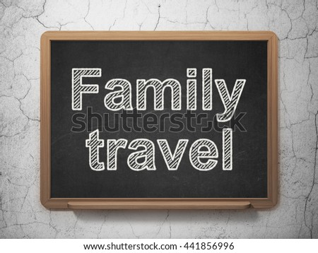 Travel concept: text Family Travel on Black chalkboard on grunge wall background, 3D rendering #441856996