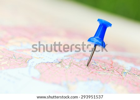 Travel destination, blue  pin on the map #293951537
