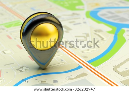 Travel destination, gps location and positioning concept, city map with navigation pin pointer close-up view