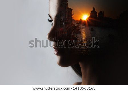 Travel dreams, concept. The profile of the girl and the sunset in a beautiful location, double exposure
