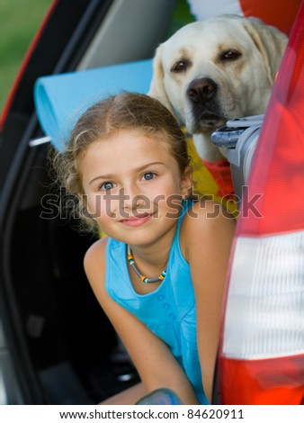 Travel - Girl with dog ready for the travel for summer vacation