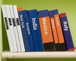 Travel guide books on a shelf