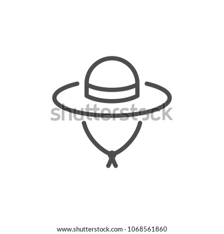 Travel hat line icon isolated on white