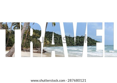 Travel header text with beach background and palm trees