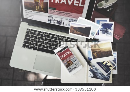Travel Holiday Vacation Traveling Laptop Technology Concept