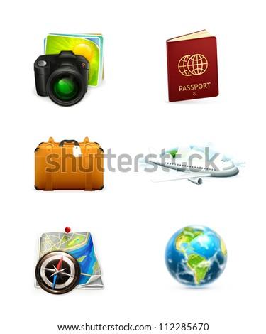 Travel icon set, bitmap copy