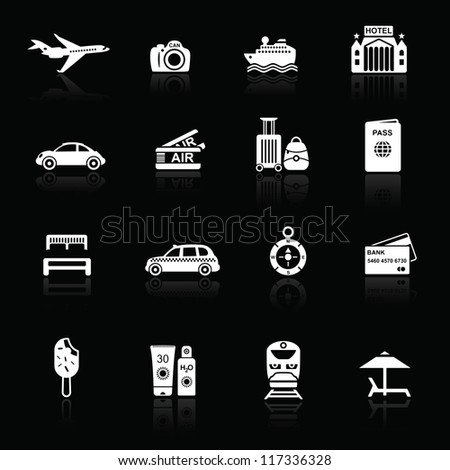 Travel icons white on black with reflections. Silhouettes of travel related objects.