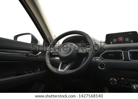 Travel in car. Element of design. Dashboard panel inside automobile and sky background. Behind the wheel. Isolated object. #1427568140