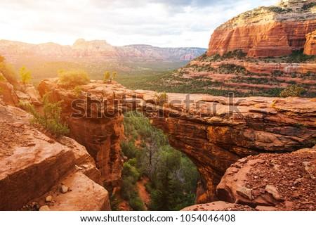 Travel in Devil's Bridge Trail, scenic view panoramic landscape, Sedona, Arizona, USA