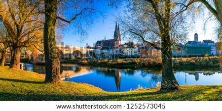 Travel in Germany - picturesque Regensburg town over Danube river . Landmarks of Bavaria