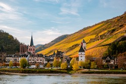 Travel in Germany - river cruises in Rhein river, beautiful medieval town and wine fields. Germany Koblenz area