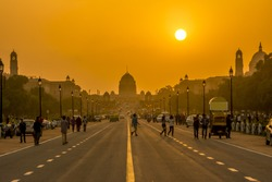 Travel in India: view of sunset behind the Presidential Residence, Rashtrapati Bhavan, New Delhi, India.