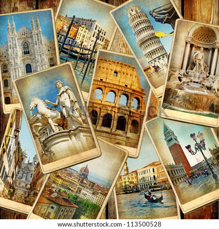 travel in Italy -vintage collage - Shutterstock ID 113500528