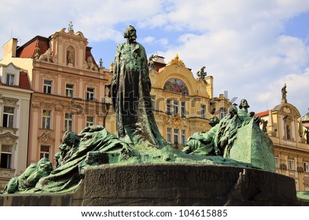 Travel in Prague, Old Town Square (Staromestske namestí), Jan Hus monument