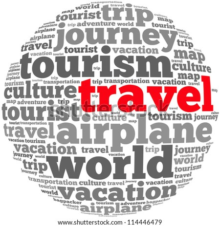 Travel info text graphics and arrangement concept on white background