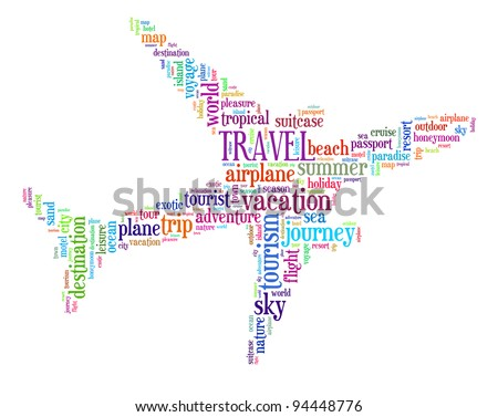 Travel info-text graphics and arrangement concept (word cloud)