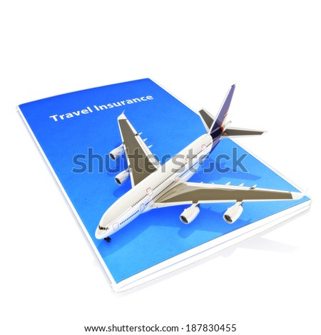Travel Insurance concept with Jet aircraft on a white background