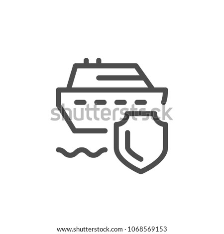 Travel insurance line icon isolated on white