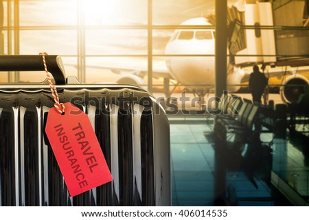 Travel insurance suitcase with tag paper for protection your trip. #406014535