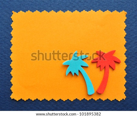 Travel memories retro background. Empty paper gift photo card.Orange empty photo frame border decorated with palm trees cutout.