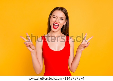 Travel optimistic lifestyle leisure dream daydream people person concept. Photo portrait of dreamy rejoicing beautiful attractive lady making double two fingers sign isolated bright background