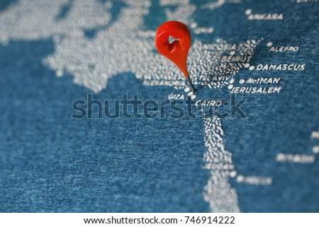 Shutterstock travel painted map with the plane, middle east