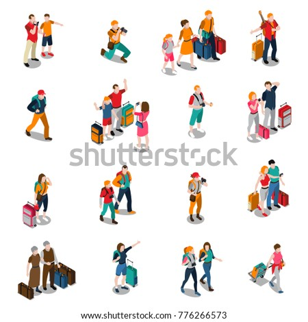 Travel people isometric icons with men women kids in different poses and baggage isolated  illustration