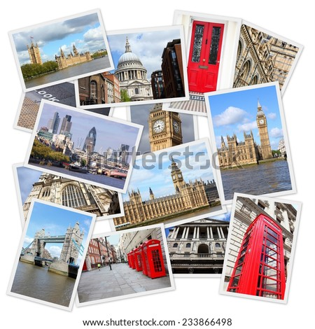 Travel photo collage from London, UK. Collage includes major landmarks like Big Ben, Saint Paul's Cathedral and red telephone booths.