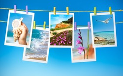 Travel pictures hanging on colorful pegs on blue background, collage